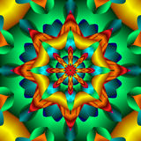 Kaleidoscope. Pretty fractal kaleidoscope in hues of green, teal and yellow Royalty Free Stock Image