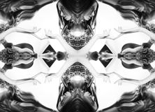 Kaleidoscope. Abstract montage of a beautiful young woman on white background. Black and white stock photography