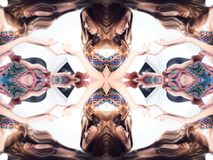 Kaleidoscope. Abstract montage of a beautiful young woman on white background. The reflection in the mirrors. Unusual background Royalty Free Stock Photos
