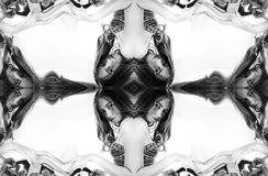 Kaleidoscope. Abstract montage of black-and-white portrait on white background.. stock photo