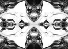 kaleidoscope Abstrakt montage av en härlig ung kvinna på vit bakgrund svart white Arkivbild