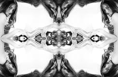 kaleidoscope Abstrakt montage av en härlig ung kvinna på vit bakgrund Härlig Woman Arkivbilder