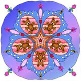 Kaleidoscope of bears and bees Royalty Free Stock Photo