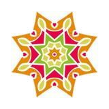 Kaleidoscope big bud. Oriental pattern illustration. Flower background Stock Photo