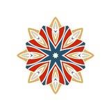 Kaleidoscope big bud. Oriental pattern illustration. Flower background Stock Photos