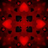 Kaleidoscope card background. An abstract background of hearts, spades, clubs and diamonds stock illustration