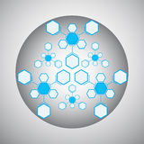 Kaleidoscope of the compounds blue. Kaleidoscope of hexagonal compounds. gray-blue. vector graphics Stock Photo