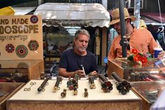 Kaleidoscope craftsman at Tel Aviv marketplace stock photos