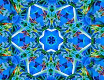 Blue Stars and Yellow Jackets Kaleidoscope. A kaleidoscope created from an image with yellow jackets on a sunflower stock photos