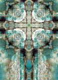 Kaleidoscope cross, blue chert layers Royalty Free Stock Photos