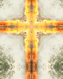 Kaleidoscope cross:  Charlotte fountain. Kaleidoscope cross from photo of fountain and submerged lights, Charlotte, North Carolina Royalty Free Stock Photo