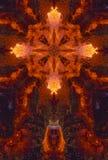Kaleidoscope cross:  glowing coals Stock Image