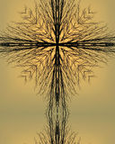 Kaleidoscope Cross:  morning tree. Kaleidoscope cross created from photo of tree silhouette at dawn Stock Photography