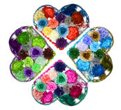 Kaleidoscope Design of Flower hearts (barrettes) Royalty Free Stock Photo