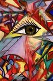 Kaleidoscope. The eye looking in an aperture of a kaleidoscope vector illustration