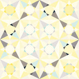 Kaleidoscope glass mosaic tiles seamless vector pattern. Glossy flat pastel yellow and blue colors triangle splinters background vector illustration