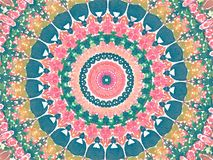 Kaleidoscope Mehndi style floral design with circles watercolor illustration. In green, aqua, yellow and pink Royalty Free Stock Photography