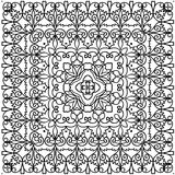 Kaleidoscope pattern in black and white with plant  ornaments  loop Page coloring  illustration Stock Images