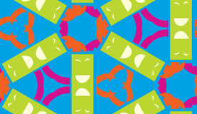 Kaleidoscope Pattern of Green and Blue Shapes Royalty Free Stock Image