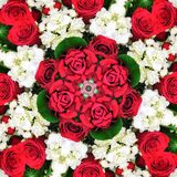 Kaleidoscope Pattern Of Red Roses Stock Photos