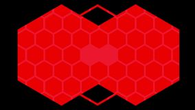 Kaleidoscope of red hexagons on black