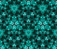 Kaleidoscope seamless pattern, background, consisting of abstract shapes in teal. Useful as design element for texture and artistic compositions Royalty Free Stock Photos