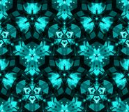 Kaleidoscope seamless pattern, background, consisting of abstract shapes in teal Stock Photography