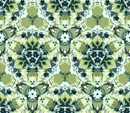 Kaleidoscope seamless pattern in green. Seamless pattern composed of color abstract elements located on white background. Stock Photography