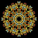 Kaleidoscope star composed of colorful shards. On the black area Stock Photography