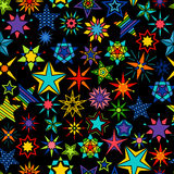 Kaleidoscope stars black background. Yellow and green, orange and blue star set seamless pattern. Vector illustration Royalty Free Stock Photos