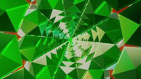 Kaleidoscope tunnel in green color stock video footage
