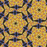 Kaleidoscope yellow star pattern tile mosaic royalty free stock photos