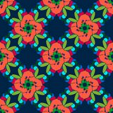 KaleidoscopePattern. Colored repeat abstract flowers on the blue background. Vector illustration Stock Photos