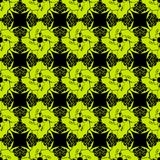 KaleidoscopePattern2. Green repeat abstract flowers on the black background. Vector illustration Stock Image
