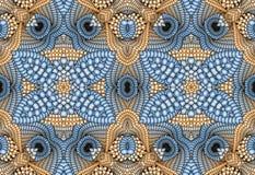 Kaleidoscopic μπεζ και μπλε άνευ ραφής σχέδιο Στοκ Εικόνες