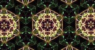 Kaleidoscopic картина на темной предпосылке в живых цветах сток-видео