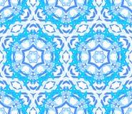 Kaleidoscopic яркий голубой орнамент цветка Стоковое фото RF