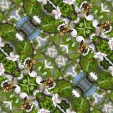 Kaleidoscopic bee on flower seamless generated texture. Or background Royalty Free Stock Images