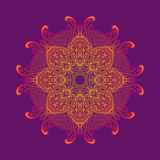 Kaleidoscopic floral pattern, mandala design in pink and purple colors Royalty Free Stock Images