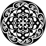 Kaleidoscopic floral tatoo. Mandala in black and white Stock Photography