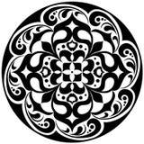 Kaleidoscopic Floral Tatoo. Mandala In Black And White Stock Photography