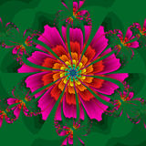 Kaleidoscopic Flower. Abstract kaleidoscopic flower in bright colors Stock Images