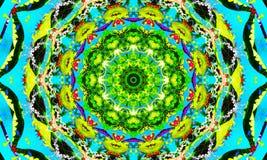 Beautiful mandala Art with repetitive shapes. Kaleidoscopic Illustration: Beautiful mandala Art with repetitive shapes and tropical colors stock illustration
