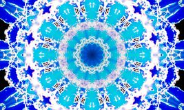 Blue repetitive mandala Art with many abstract patterns. Kaleidoscopic Illustration: Blue repetitive mandala Art with a round-shaped core and many abstract stock illustration
