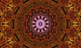 Brown/gold mandala Art. Kaleidoscopic Illustration: Brown/gold mandala Art with a bright purple energy core stock illustration