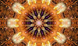 Kaleidoscopic Illustration: Golden mandala Art. With a lot of small explosive details and shapes royalty free illustration