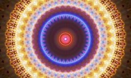 Kaleidoscopic Illustration: Round mandala Art. With bright shapes and highly detailed circles stock illustration