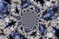 Kaleidoscopic Microphoto of Snow Crystals Stock Images