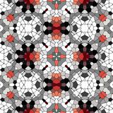 Kaleidoscopic mosaic red-black-white tile pattern made seamless Stock Photos