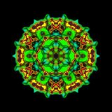 Kaleidoscopic ornamental pattern. On black background Stock Images